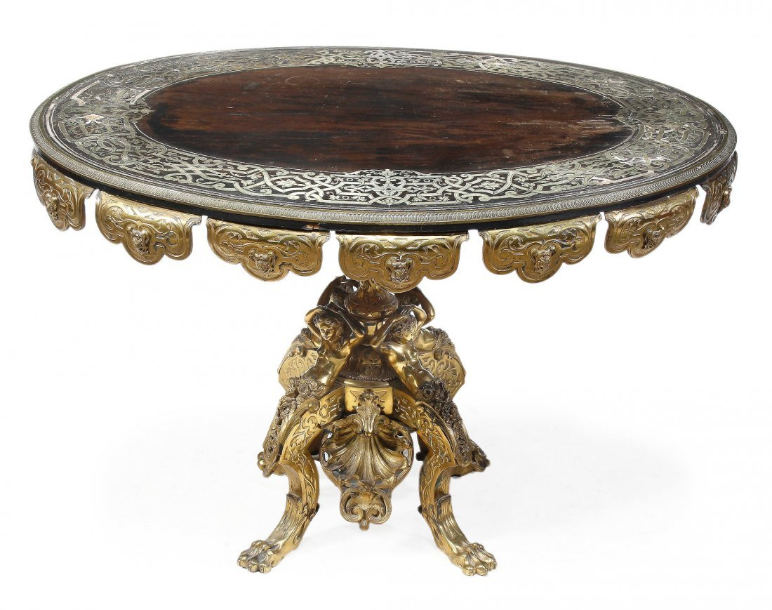 A French gilt bronze, ebony and pewter marquetry o