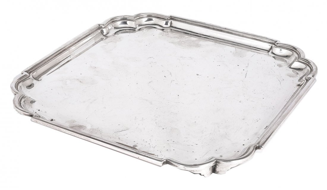 A silver shaped square salver by Suckling Ltd