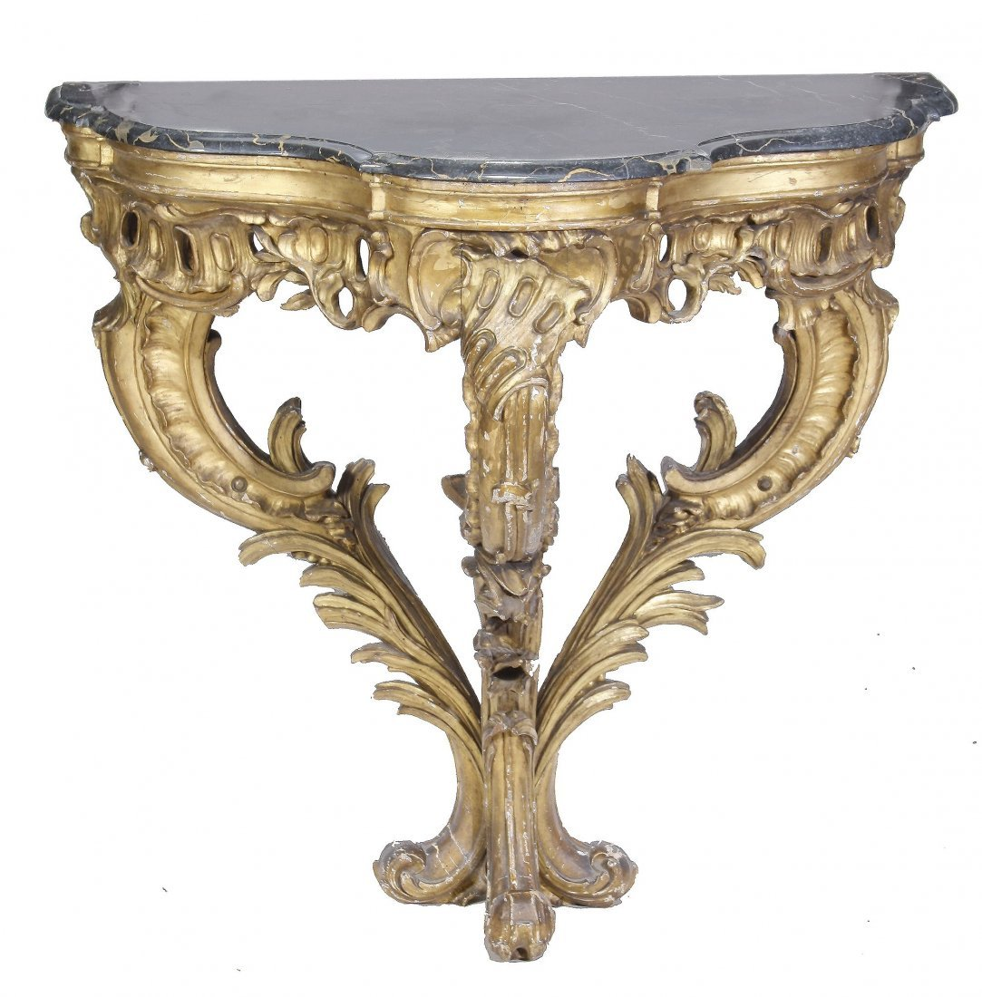 A Continental carved giltwood console table, circa