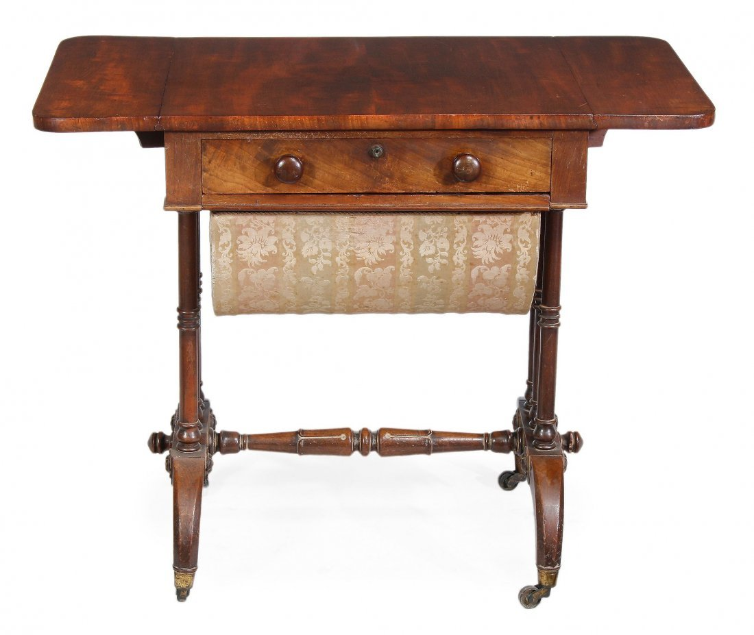 A Regency rosewood and boxwood strung sofa table ,
