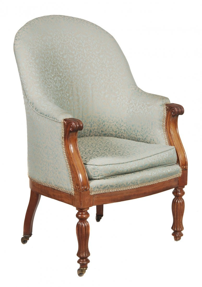 A William IV mahogany and upholstered library chai