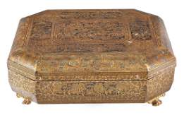A Chinese export lacquered and parcel gilt papier