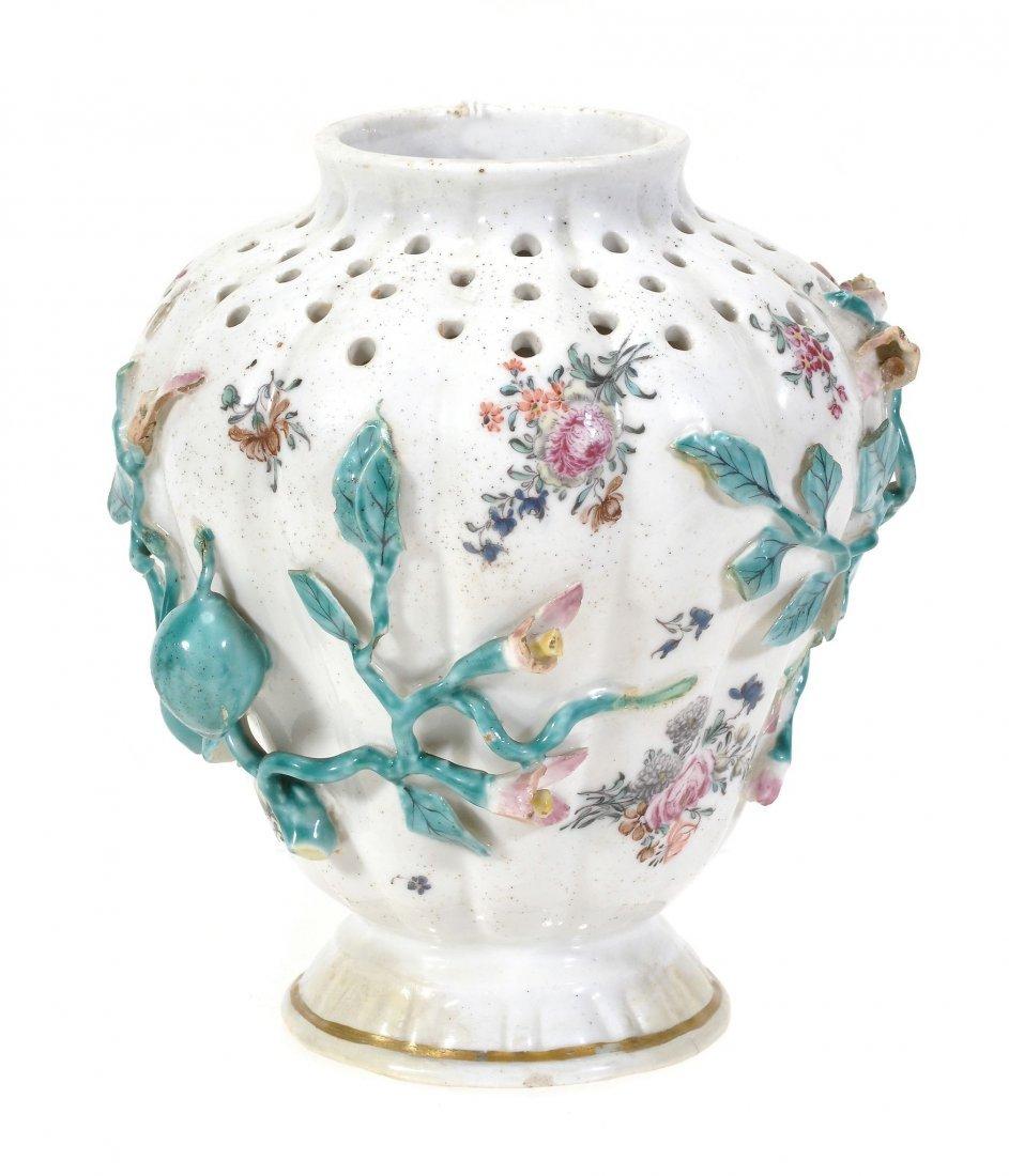 A Chelsea shouldered pot pourri vase of pierced and