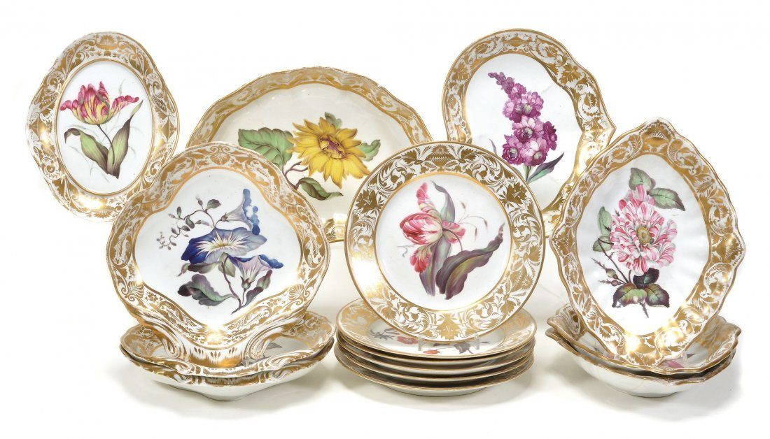 A Derby botanical part dessert service, painted with a