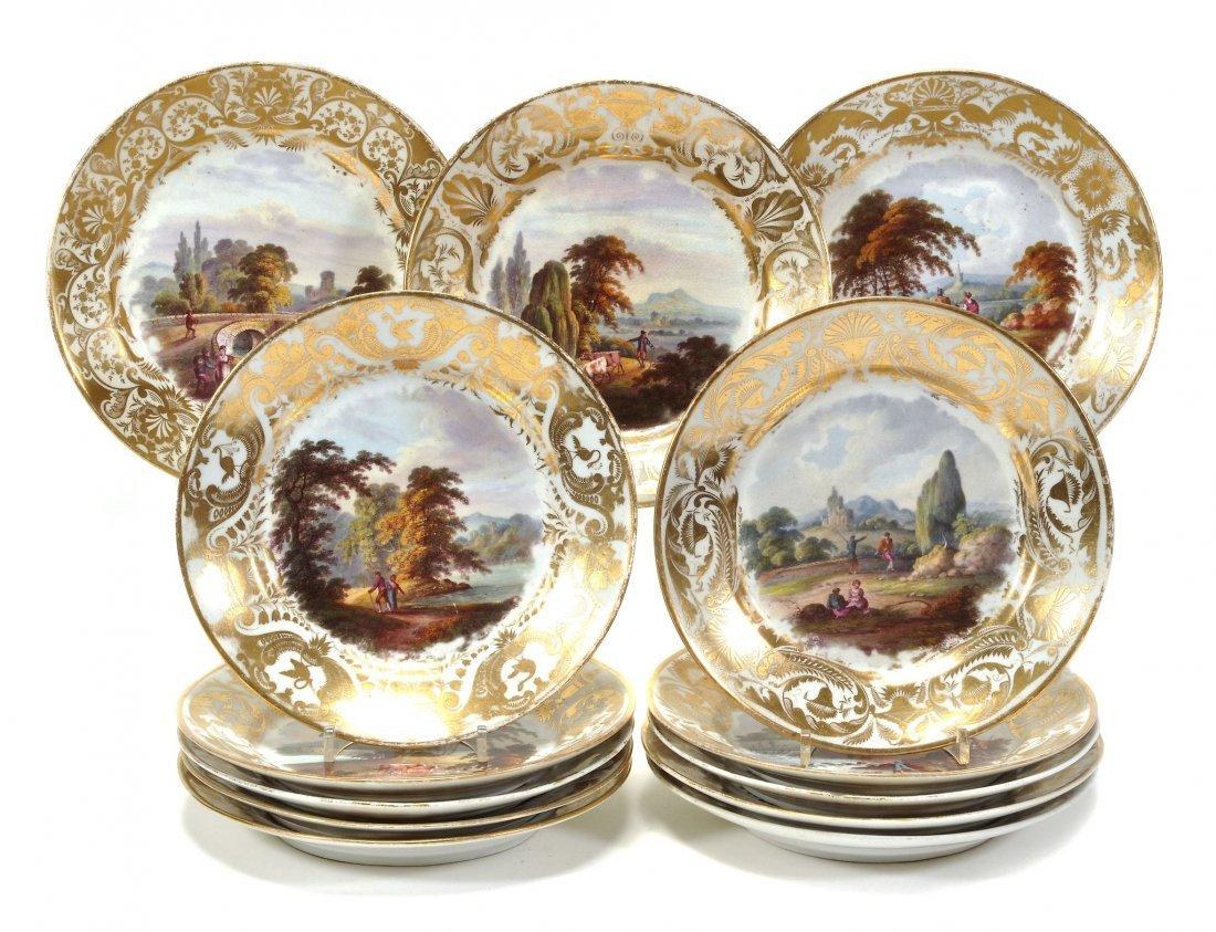 Thirteen Derby porcelaain landscape plates