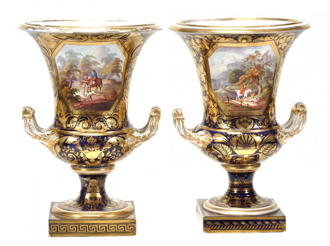 A pair of Derby blue-ground and gilt campana urns