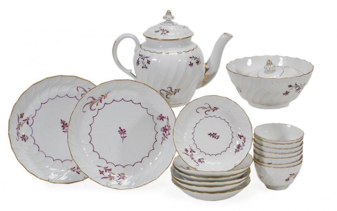 An English porcelain spirally-fluted part tea service,