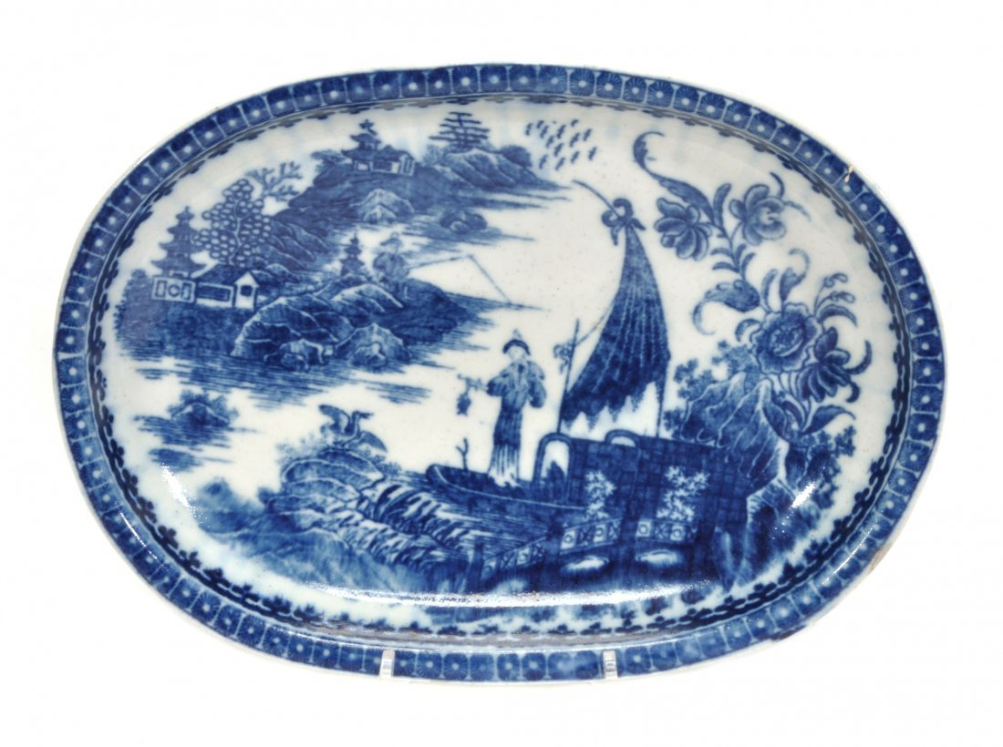 A Caughley blue and white oval baking dish, printed