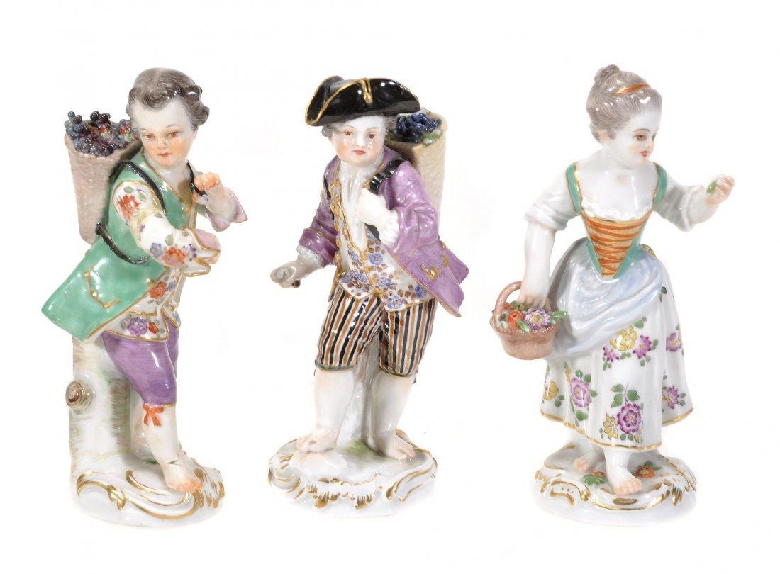 Three various Meissen figures of gardener's children