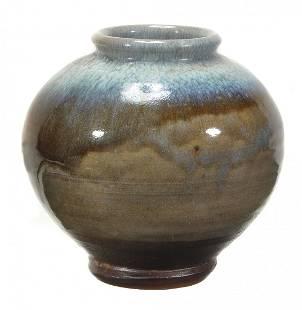 A Bernard Leach stoneware globular vase, the shoulder