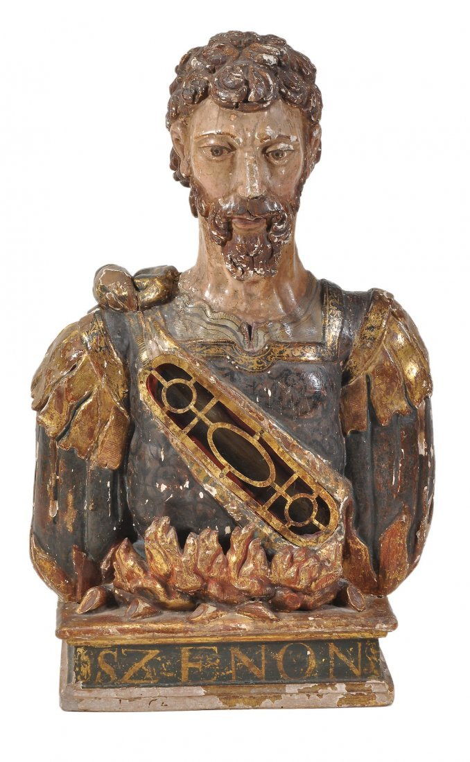 A carved and polychrome painted wood reliquary bust of