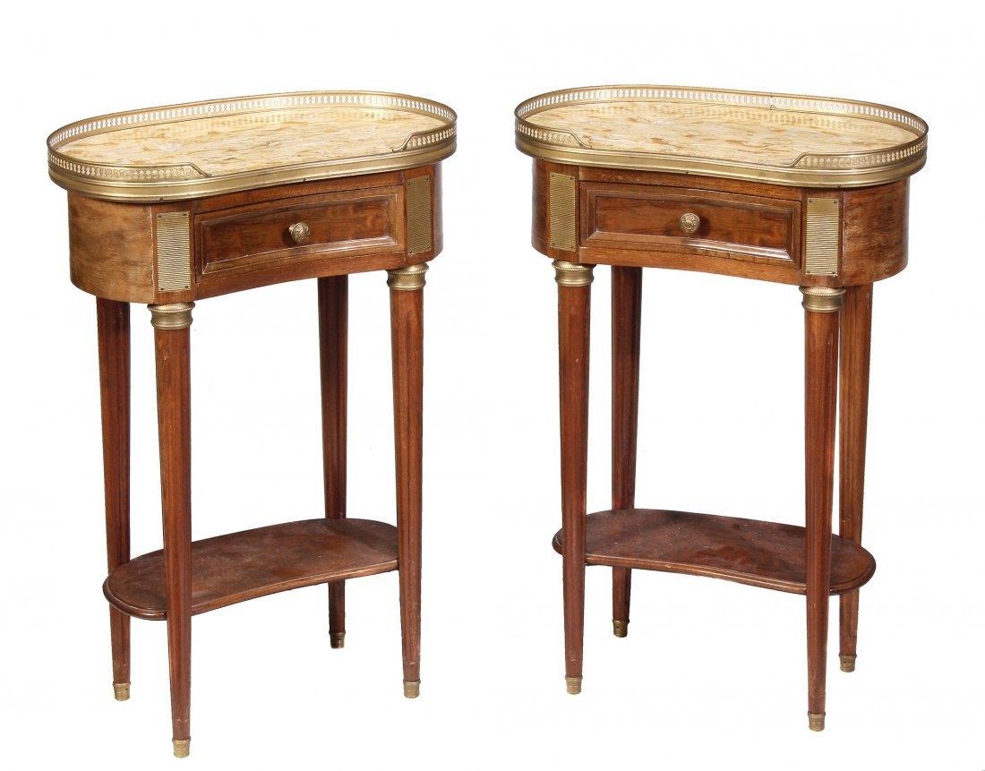A pair of French mahogany, marble and gilt metal