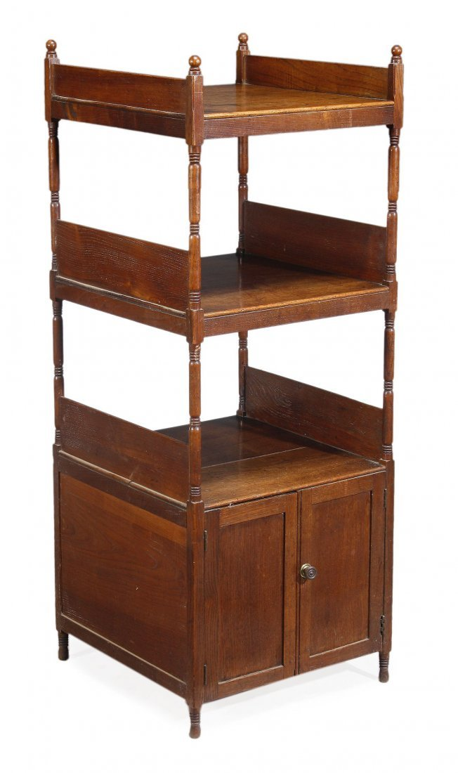 A George IV hardwood three tier what-not , circa 1825