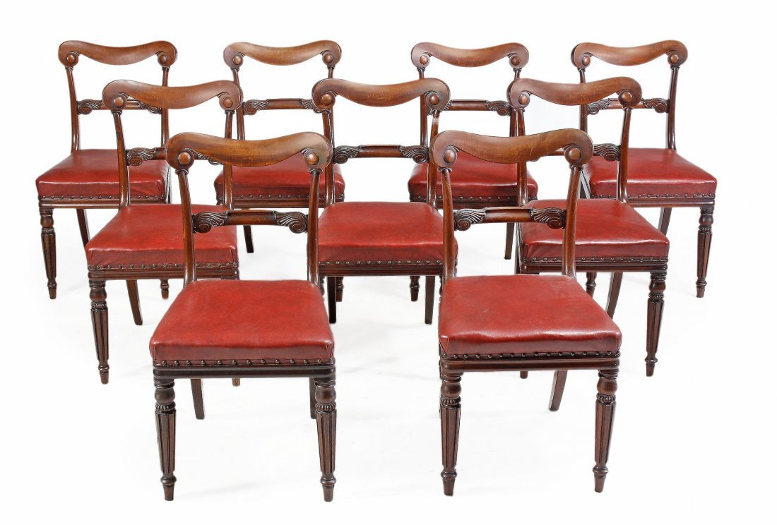 A set of nine William IV mahogany dining chairs , circa