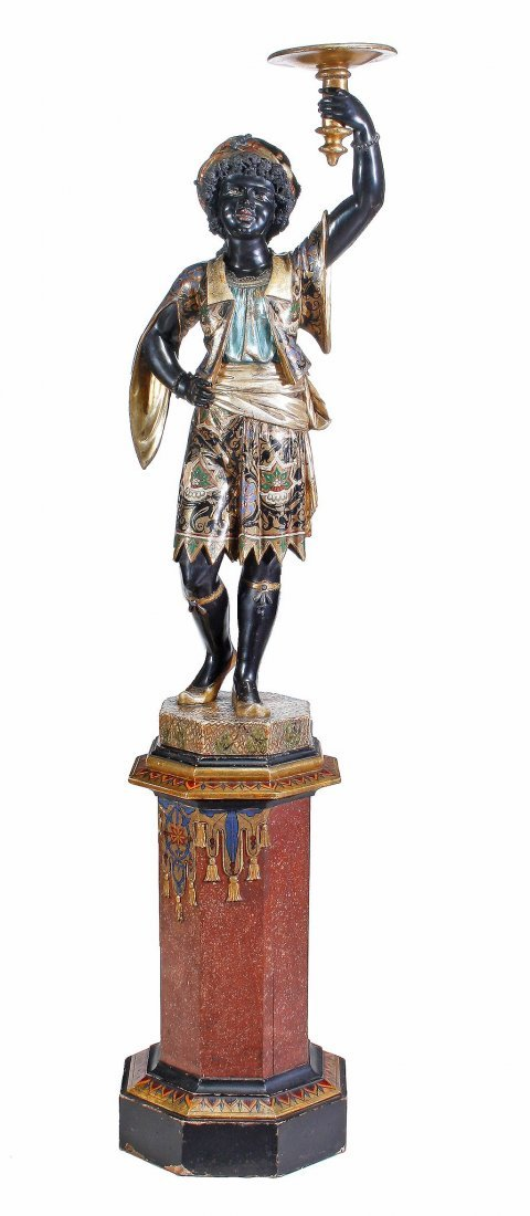 An Italian ebonised and polychrome painted wood