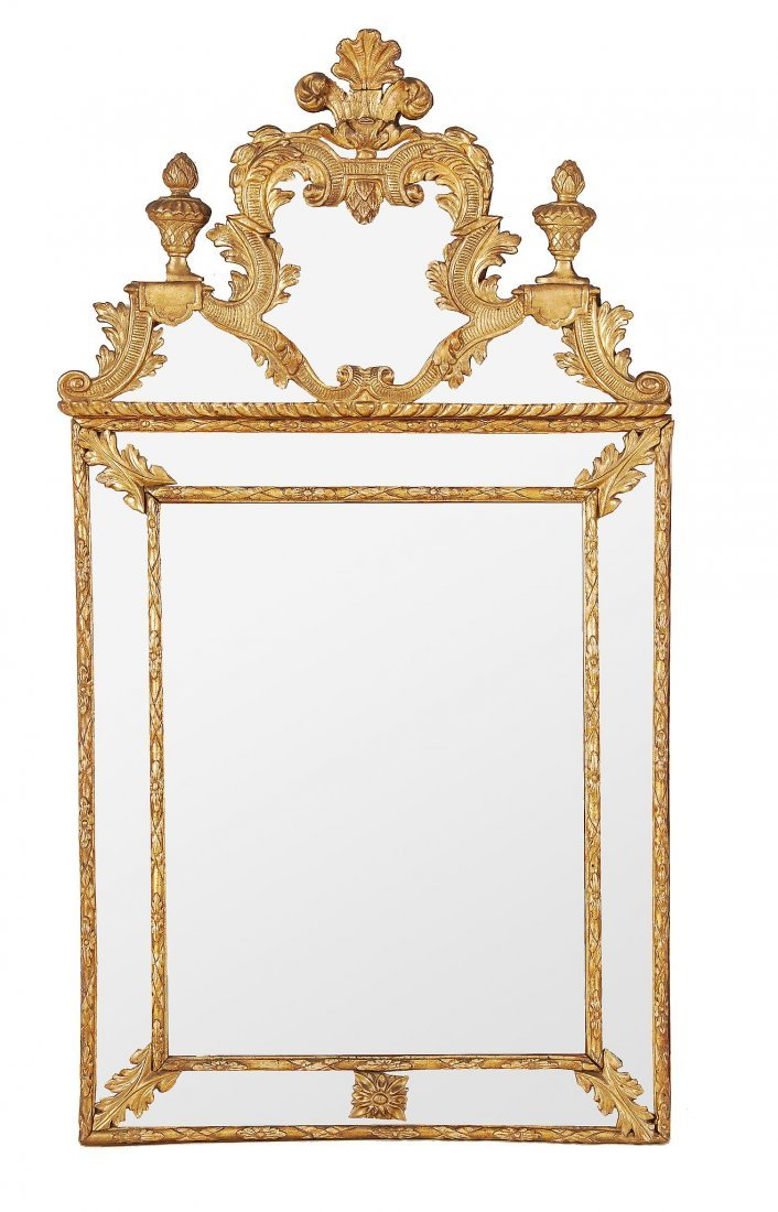 An Italian giltwood wall mirror , late 18th/early 19th