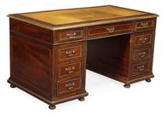 A mahogany and brass mounted pedestal desk in early