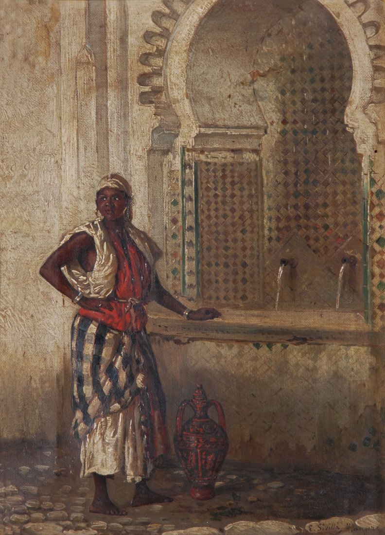 E.Sivilla An Arab women fetching water Signed and