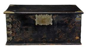 A black lacquer and gilt japanned chest second quarter