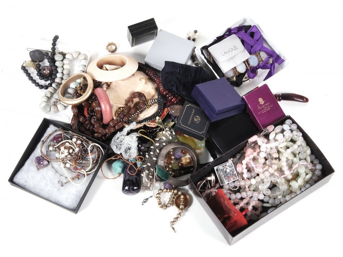A collection of costume jewellery in a Samsonite case