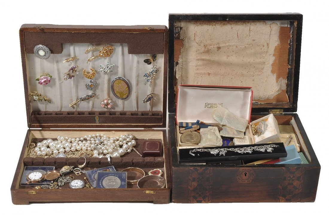 Two boxes of assorted costume jewellery (See