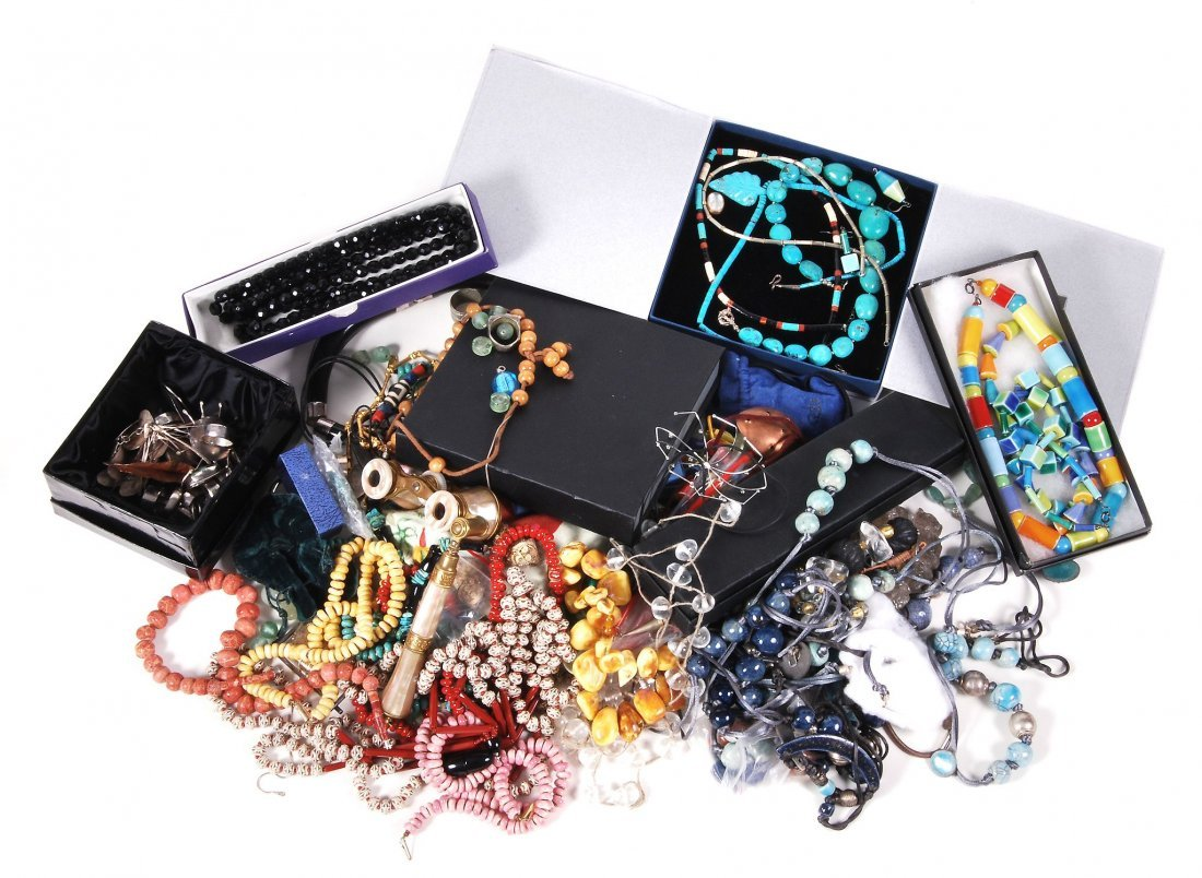 A collection of costume jewellery , including; various