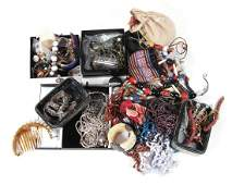 A collection of costume jewellery and a small