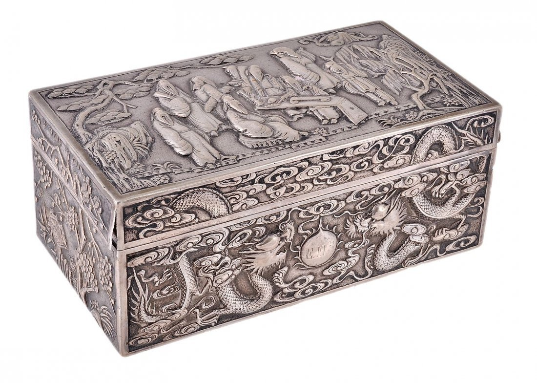 A Chinese export silver cigarette box probably by Luen