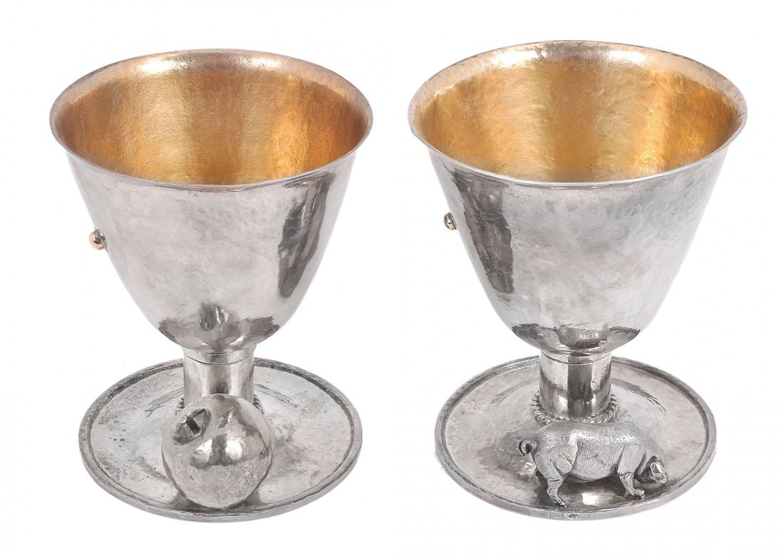 A pair of silver parcel gilt goblets by Michael Allan