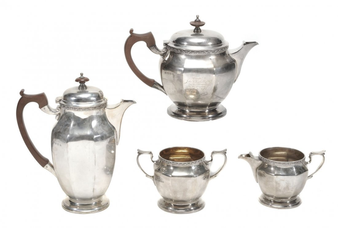 A matched silver octagonal four piece tea service by