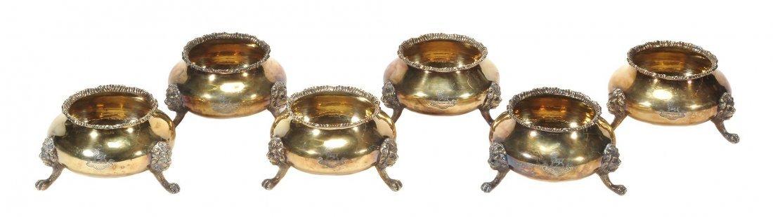 A set of six silver gilt cauldron salt cellars by The