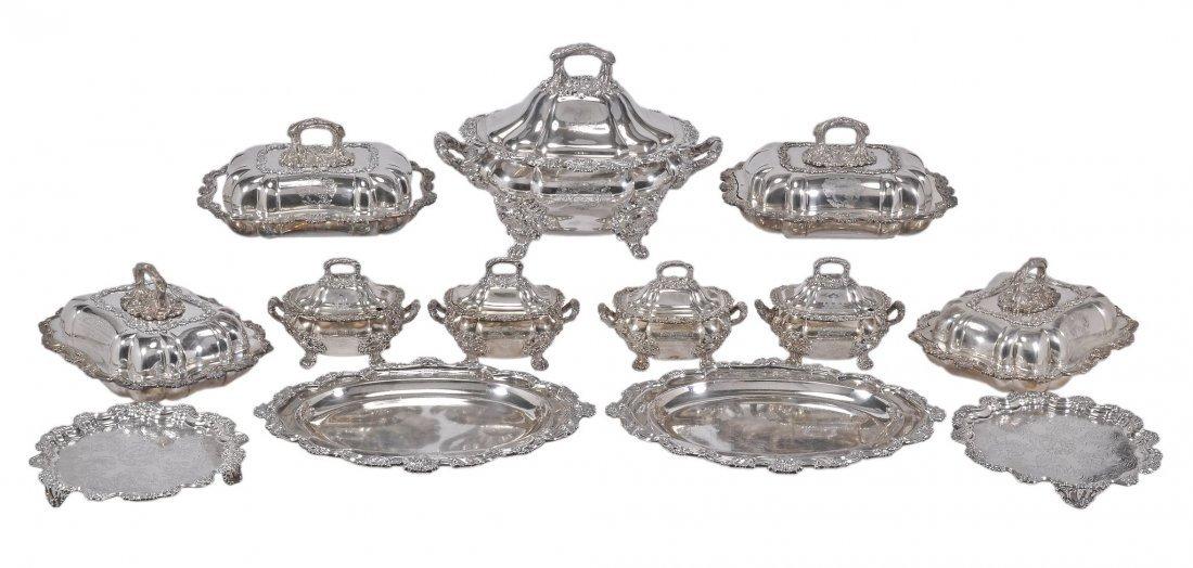 A William IV silver dinner service, maker's mark 'RG