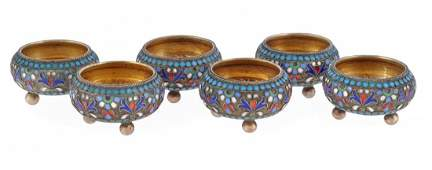 A set of six Russian silver gilt and cloisonne enamel