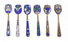 A set of six Soviet Russian silver coloured gilt and