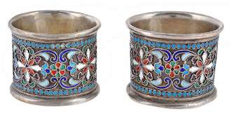 A pair of Russian silver coloured and cloisonne enamel