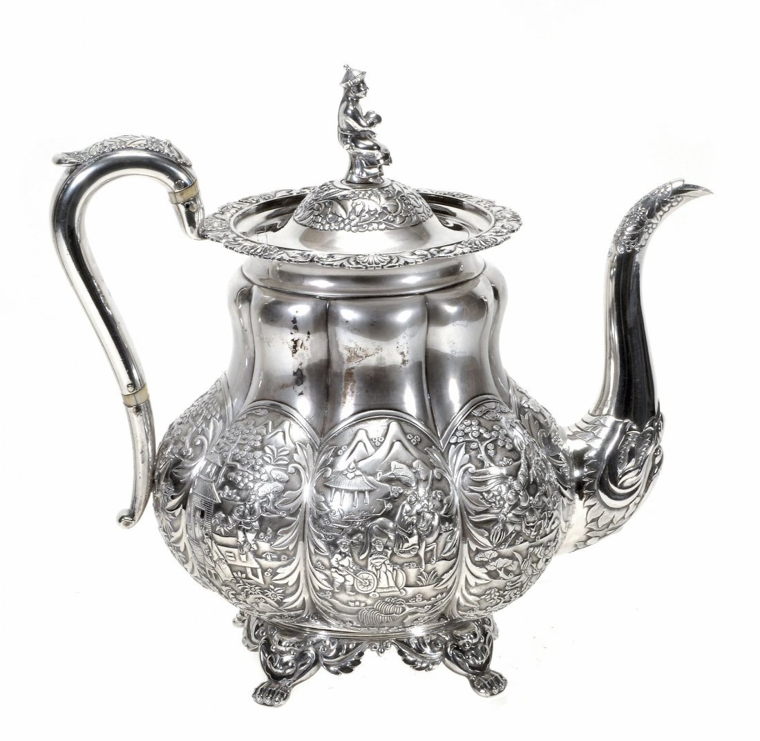 A heavy Chinese export silver tea pot by Wong Shing ,