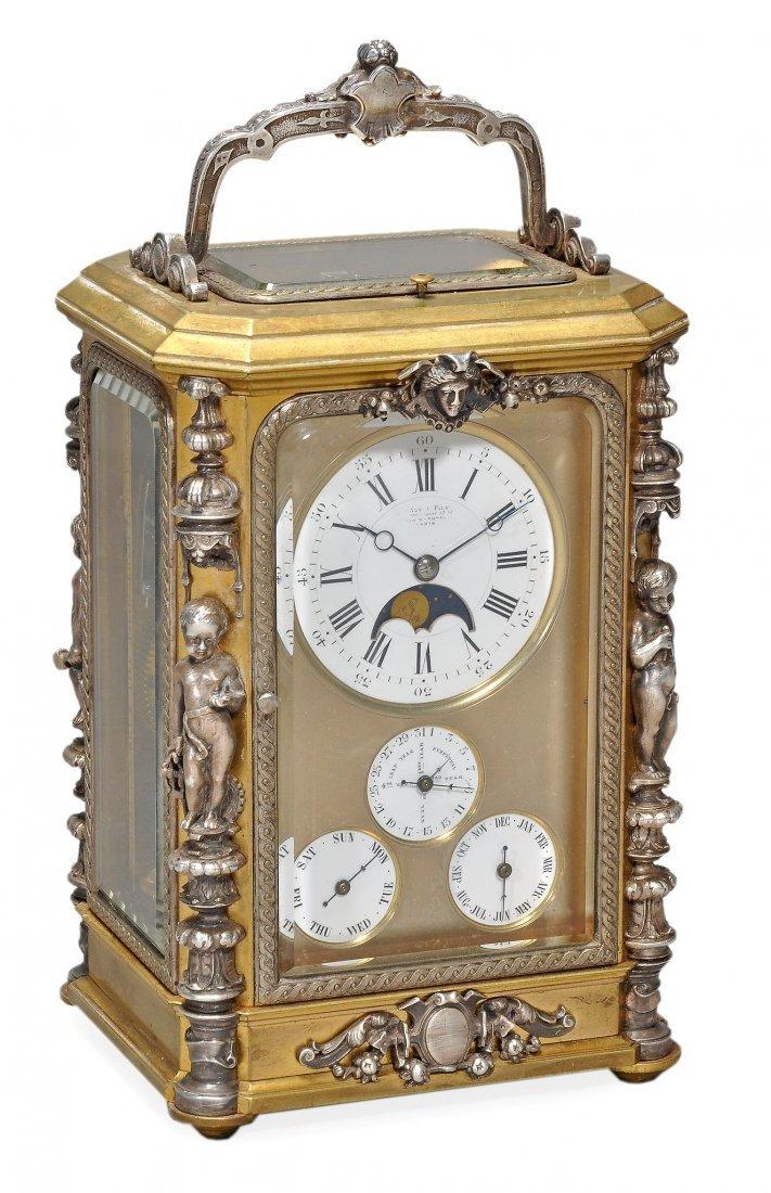 A fine silver mounted gilt brass petit sonnerie