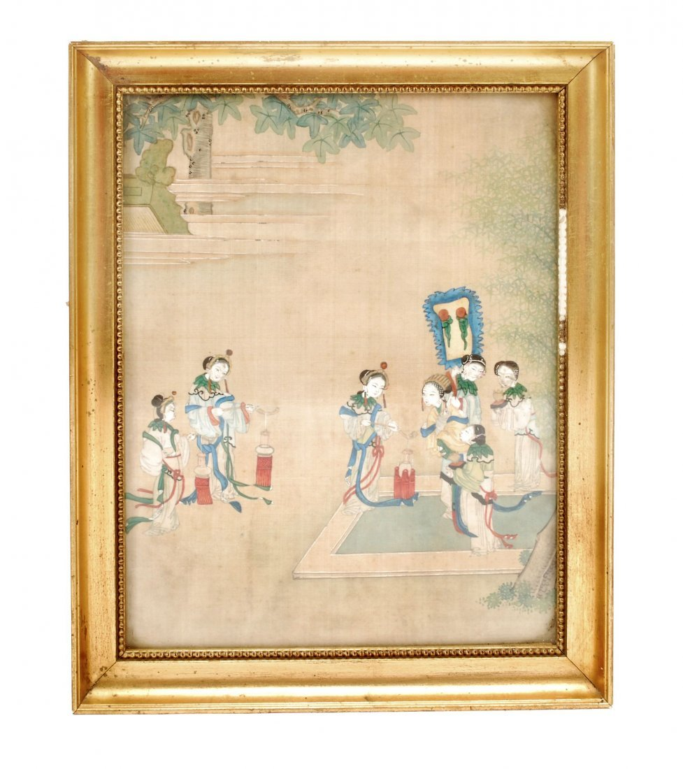 A Chinese painting of a garden scene depicting ladies