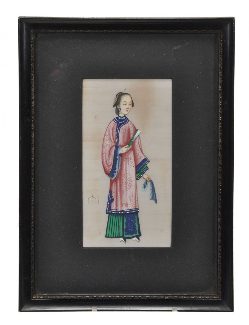 Eight Chinese rice paper paintings of court figures ,