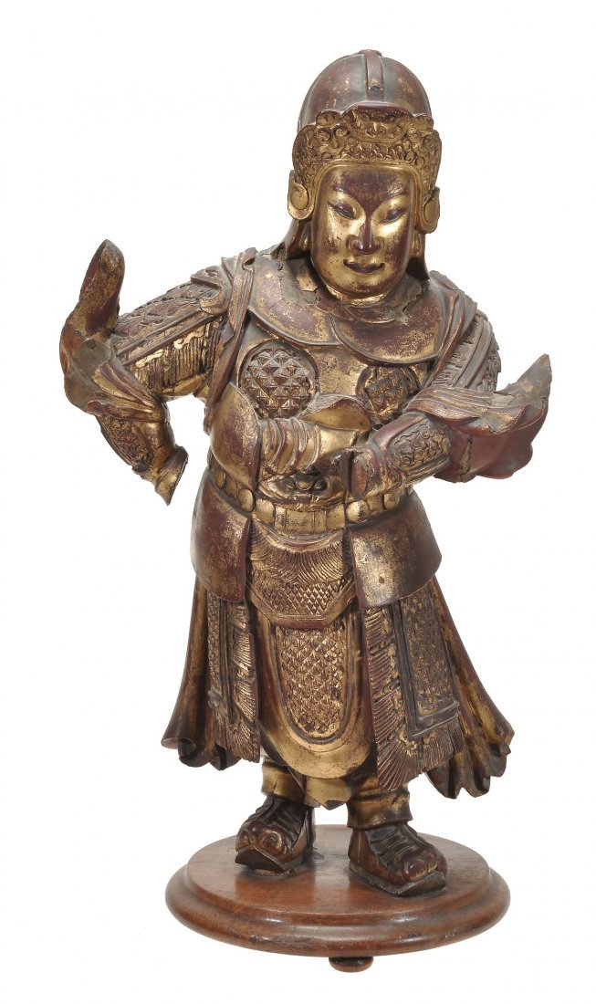 A Lacquered wood figure of a Chinese general