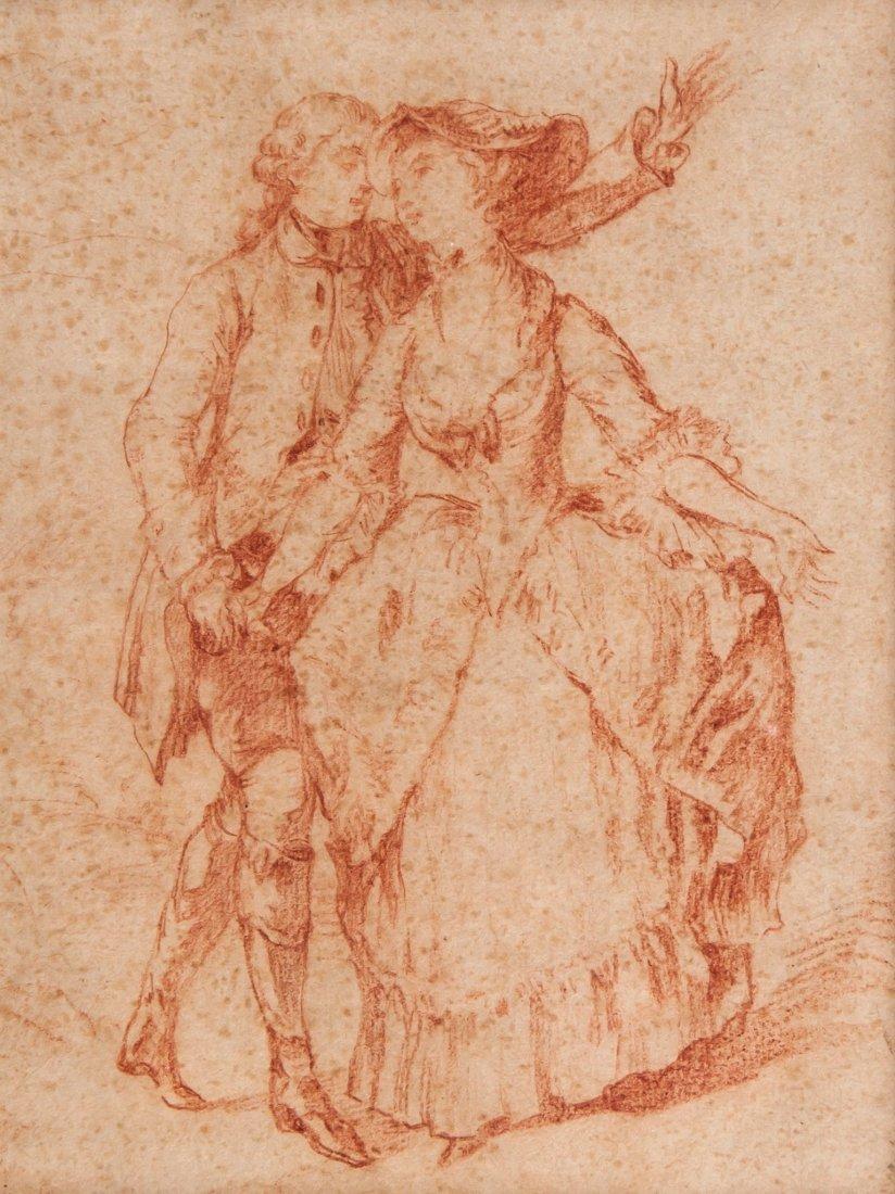 Follower of Jean-Antoine Watteau - An elegant couple,