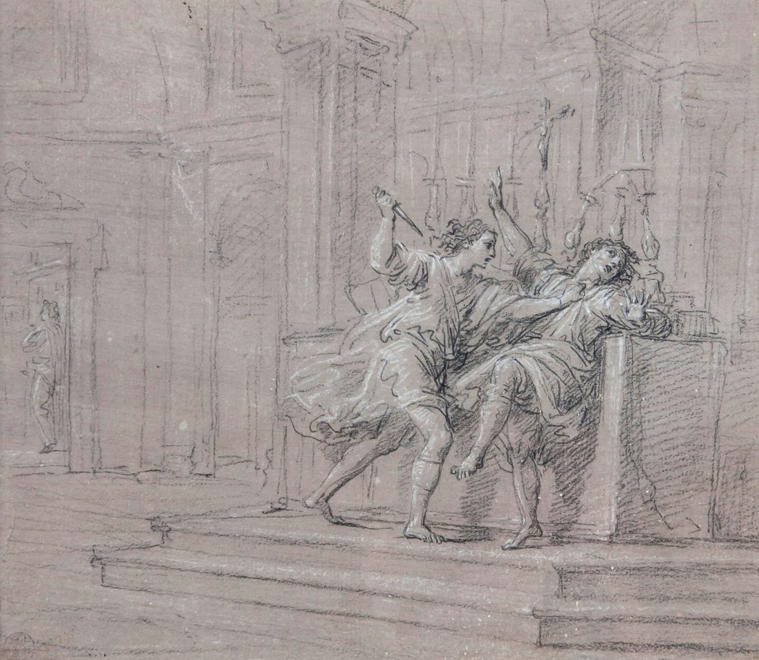 French School (18th Century) - Two figures grappling,