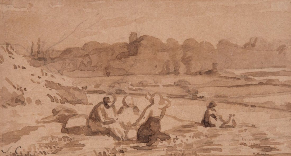 Joshua Cristall (1767-1847) - Figures by a river bank,
