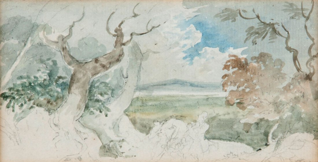 Circle of John Constable - Landscape with figures,