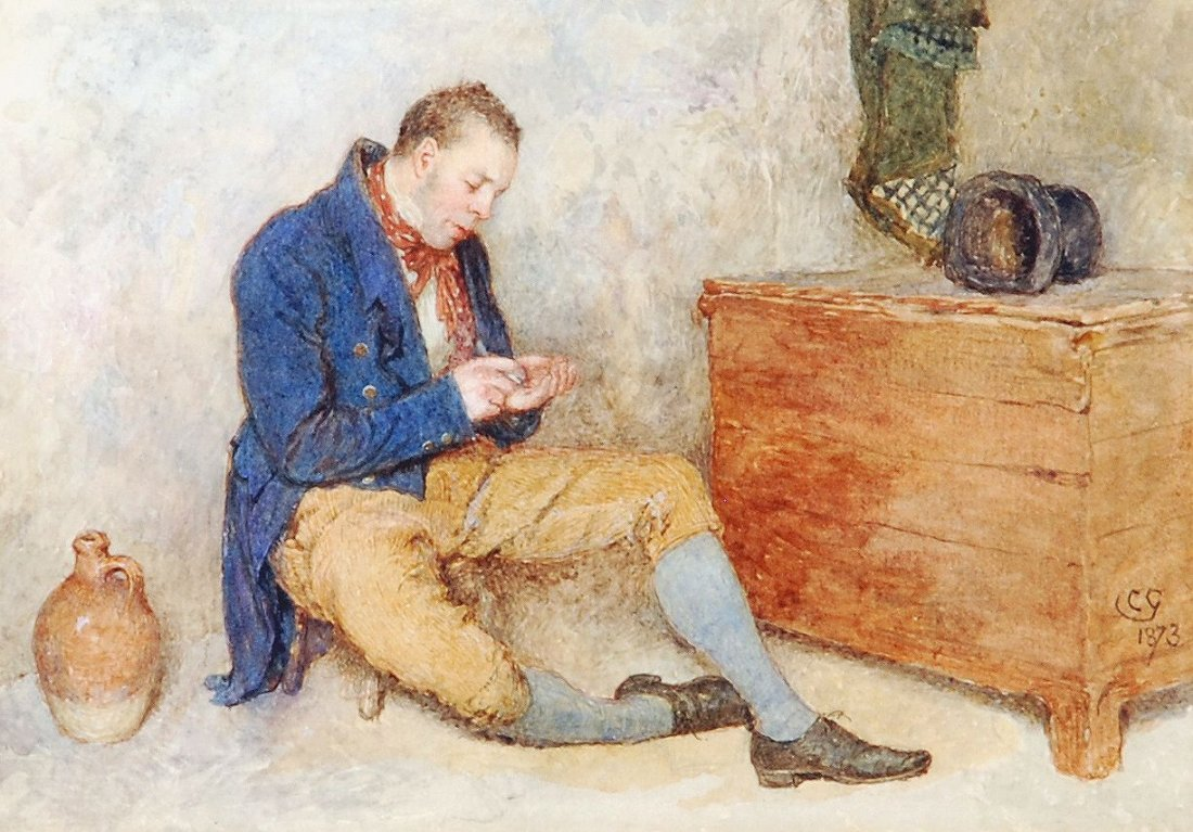 Charles Green (1840-1898) - The Irishman and his pipe