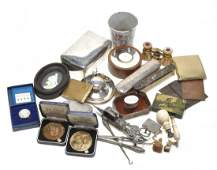A collection of objects of vertu and small silver,