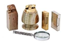 A Dunhill gold plated slim gas lighter a Dupont white
