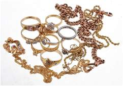 A collection of gold coloured jewellery  including an