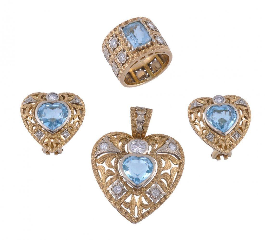 A suite of aquamarine and diamond jewellery