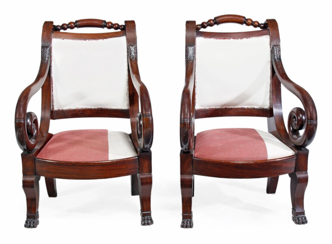A pair of Continental mahogany armchairs, 19th century